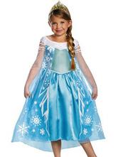 Anime Costumes AF-S2-482057 Light Sky Blue Kids' Costume of Elsa of Frozen
