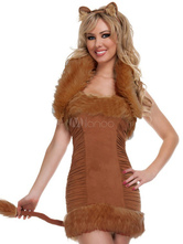 Anime Costumes AF-S2-377375 Halloween Fashion Brown Faux Fur Catwoman Costume for Woman