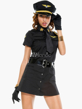 Anime Costumes AF-S2-458129 Halloween Attractive Cotton Blend Airhostess Costume