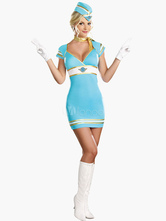 Anime Costumes AF-S2-458145 Halloween Light Sky Blue Cotton Blend Attractive Airhostess Costume