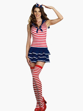 Anime Costumes AF-S2-242958 Halloween Stripe Pattern Lycra Spandex Women's Sexy Sailor Costume
