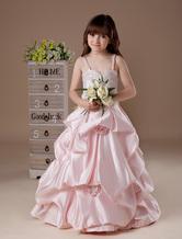 Gorgeous Pink Taffeta Floor Length Girl's Pageant Dress