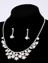 Attractive Silver Metal Pearl Bridal Jewelry Set