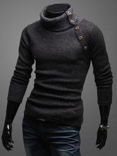 Homens Algodão Malhas Gola Alta Botão Metálico Manga Longa Pullover Sweater