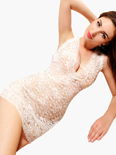 Backless Cut Out Sleeveless Lace Chemise