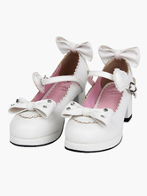 White Lolita Heels Bow Scalloped Buckle Lolita Shoes