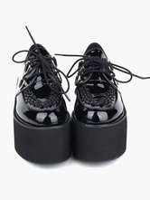 Lolitashow Lovely Black Round Toe PU Leather Street Wear Platform Lolita Shoes