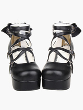 Lolitashow Black Platform Chunky Heels Lolita Shoes PU Ankle Straps Bow Decor Round Toe
