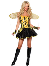 Anime Costumes AF-S2-381541 Halloween Yellow Polyester Sweet Sexy Bee Costume