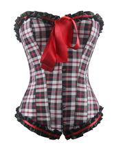 Plaid Overbust Corset Lace Up Ribbons Corsets