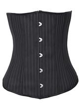 Lolitashow Charming Black Strips Cotton Plastic Boned Womens Corsets