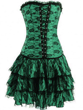 Women Corset Dress Lace Green Waist Trainer With Layered Skirt Sexy Lingerie