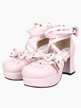Calçados doce e rosa Chunky High Heel AnkleStraps Borboleta Alta Plataforma PU Lolita