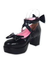 Lolitashow Black Ravel Round Toe PU Leather High Heels Lolita Shoes