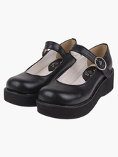 Lolitashow Kawayi Black Lolita Shoes Platform Shoes with Buckles Strap