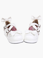 Lolitashow Sweet White Lolita Flats Shoes Platform Bow Decor with Trim