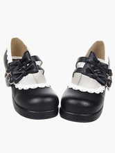 Lolitashow Sweet Lolita Chunky Square Heels Shoes Bows Trim Round Toe