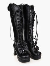Lolitashow Vintage Black PU Bow Platform Bandage Lolita Boots