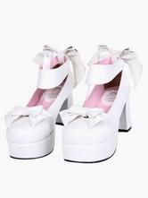 Lolitashow White Lolita Chunky Heels Shoes Platofrm Ankle Strap Bows Decor
