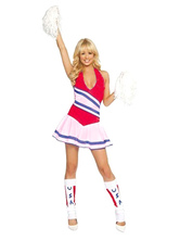 Anime Costumes AF-S2-383049 Halloween Multi Color Halter Polyester Hot Cheerleader Costume