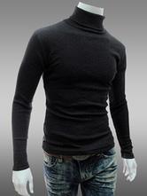 Pullover Casual Cotone Misto con Collo Alto Maniche Lunghe Casuale