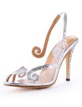 Mulheres Vestido 2021 Sapatos Sandálias De Salto Alto Glitter Peep Toe Slingbacks Sapatos De Casamento