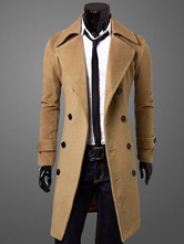 Men Camel Peacoat Winter Trench Coat Turndown Collar Long Sleeve Double Breasted Long Coat