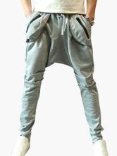 Men Jogger Pant Drop Crotch Zipper Pocket Harem Pant