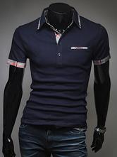 Short Sleeves T Shirt Tartan Pattern Cotton Top Pocket Navy Blue Men Polo Shirt
