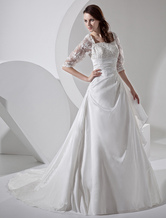 Court Train Ivory Bridal Wedding Dress with Square Neck