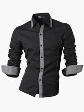 Turndown Kragen Langarm Gestaltung Baumwolle Freizeithemd für Männer