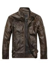 Men Leather Jacket Spring Jacket Stand Collar Long Sleeve Zip Up Motorcycle Jacket