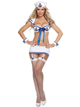 Anime Costumes AF-S2-365957 Halloween White Spandex Sailor Sexy Costume