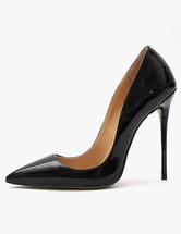 Sapatos De Salto Alto Preto 2021 Apontou Toe Deslizamento Em Bombas Mulheres Vestido Sapatos