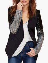 Blazer Damen Langarm und Pailletten Polyester Kurz Jacke