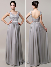 Silver Chiffon Evening Dress Lace Strapes Floor Length Party Dress V Neck Backless Prom Dress wedding guest dress