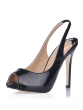 Black  Sling Back Peep Toe Patent Leather Womens Shoes