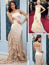 Celebrity Dresses Champagne Chiffon Strapless Mermaid Trumpet Cameron Diaz Oscar Dress