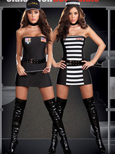 Anime Costumes AF-S2-377413 Halloween Attractive Black Polyester Sexy Cop/Prisoner Costume For Women