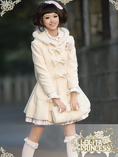 Lolitashow Sweet Lolita Long Coat Long with Hood and Bows