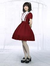 Lolitashow Dark Red Cotton Lolita One-piece Dress Short Sleeves Stand Collar Waist Belt