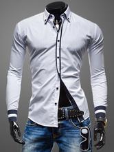 Colar Turndown mangas compridas moldar Casual camisa de algodão