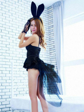 Anime Costumes AF-S2-536881 Halloween Attractive Black Synthetic Dress Women's Sexy Bunny Costume Cosplay