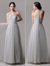 Tulle A-Line Floor-Length Convertible Bridesmaid Dress