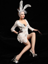 Anime Costumes AF-S2-536869 Halloween Attractive White Lace Sexy Bunny Costume For Women
