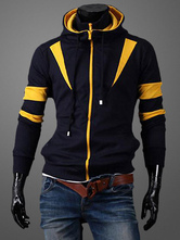 Men Hooded Jacket Zipper Up Fake Two Piece Style Two Tone Cotton Casual Jersey Jacket