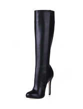 Knee High Boots 2019 Women High Heel Boots Black Closed Toe Wide Calf Boots