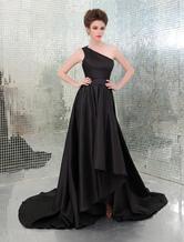 Robe pour Emmy Awards noire en taffetas à une épaule