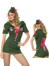 Anime Costumes AF-S2-377389 Halloween Unique Hunter Green Polyester Sexy Cop Costume For Woman