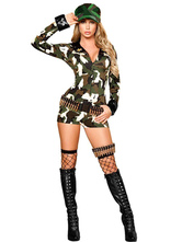 Anime Costumes AF-S2-458157 Halloween Multi Color Cotton Blend Women's Sexy Cop Costume Stylish V-Neck Uniforms Temptation